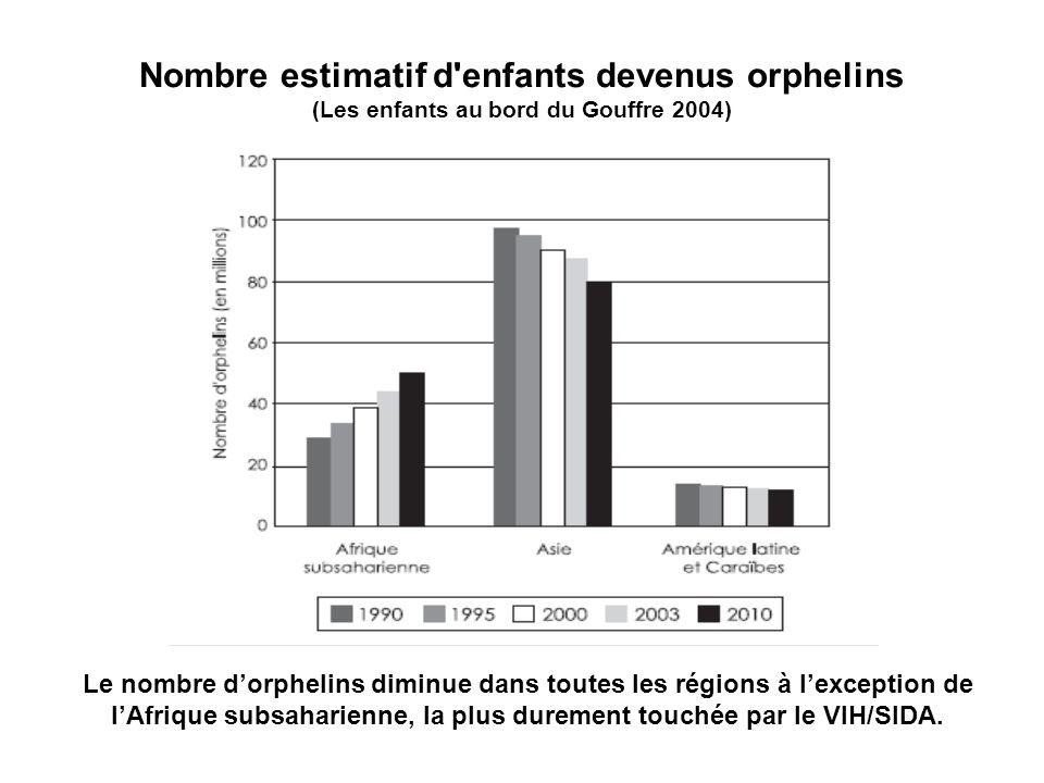Nombre estimatif d'enfants devenus orphelins (Les enfants au bord du Gouffre 2004) Le nombre dorphelins diminue dans toutes les régions à lexception d