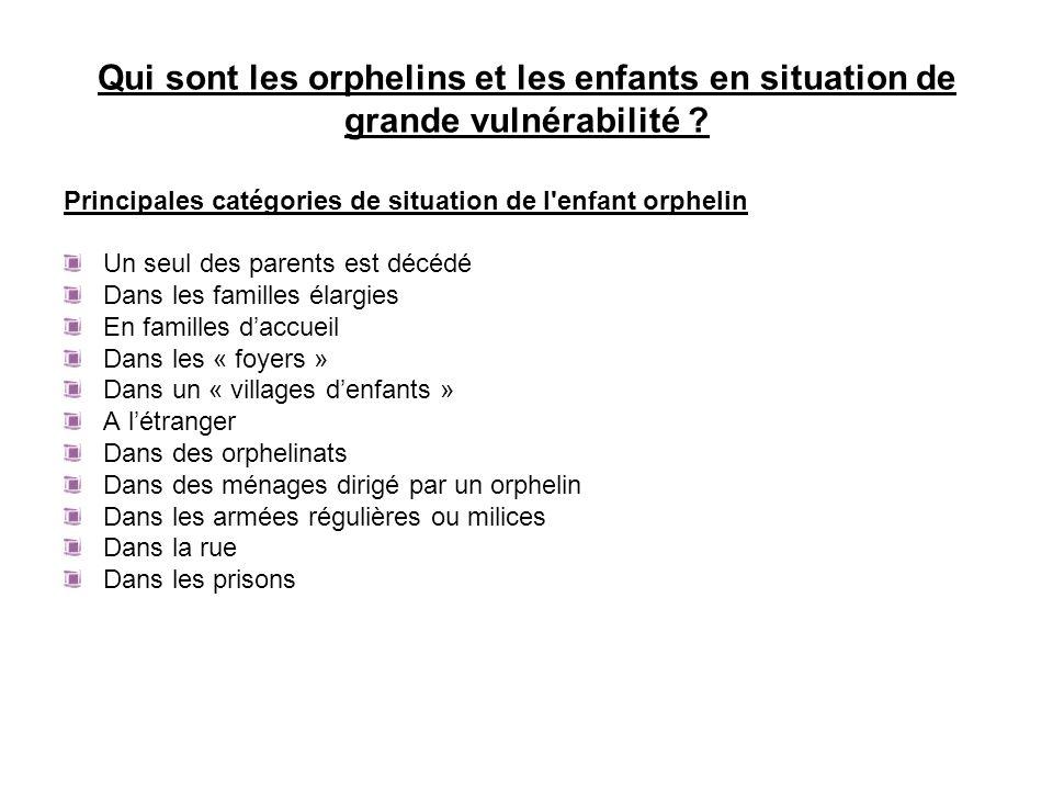Qui sont les orphelins et les enfants en situation de grande vulnérabilité ? Principales catégories de situation de l'enfant orphelin Un seul des pare