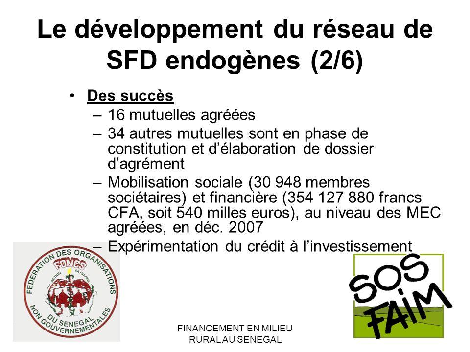 FINANCEMENT EN MILIEU RURAL AU SENEGAL Le développement du réseau de SFD endogènes (2/6) Des succès –16 mutuelles agréées –34 autres mutuelles sont en