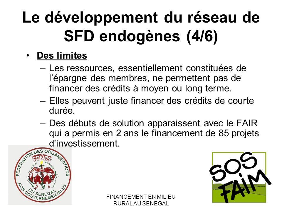 FINANCEMENT EN MILIEU RURAL AU SENEGAL Le développement du réseau de SFD endogènes (4/6) Des limites –Les ressources, essentiellement constituées de lépargne des membres, ne permettent pas de financer des crédits à moyen ou long terme.
