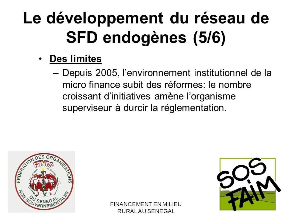 FINANCEMENT EN MILIEU RURAL AU SENEGAL Le développement du réseau de SFD endogènes (5/6) Des limites –Depuis 2005, lenvironnement institutionnel de la