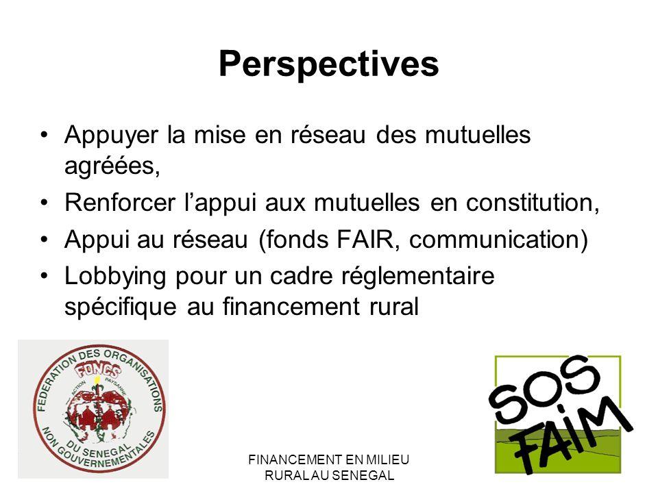 FINANCEMENT EN MILIEU RURAL AU SENEGAL Perspectives Appuyer la mise en réseau des mutuelles agréées, Renforcer lappui aux mutuelles en constitution, Appui au réseau (fonds FAIR, communication) Lobbying pour un cadre réglementaire spécifique au financement rural
