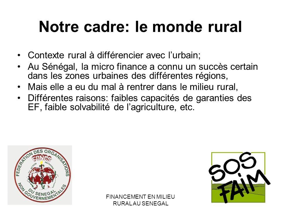 FINANCEMENT EN MILIEU RURAL AU SENEGAL Notre cadre: le monde rural Contexte rural à différencier avec lurbain; Au Sénégal, la micro finance a connu un