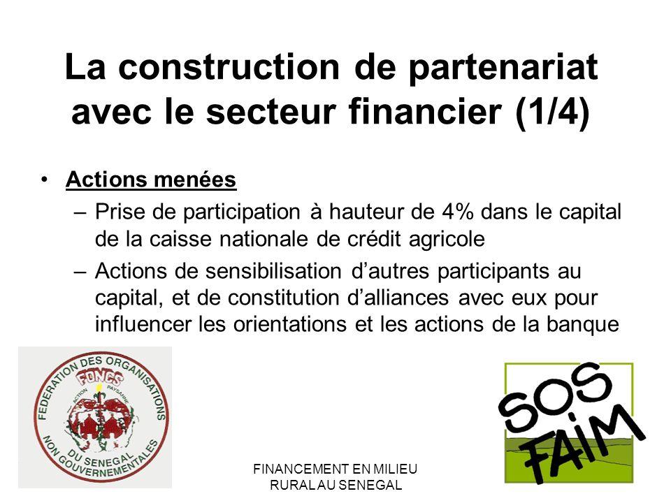 FINANCEMENT EN MILIEU RURAL AU SENEGAL La construction de partenariat avec le secteur financier (1/4) Actions menées –Prise de participation à hauteur