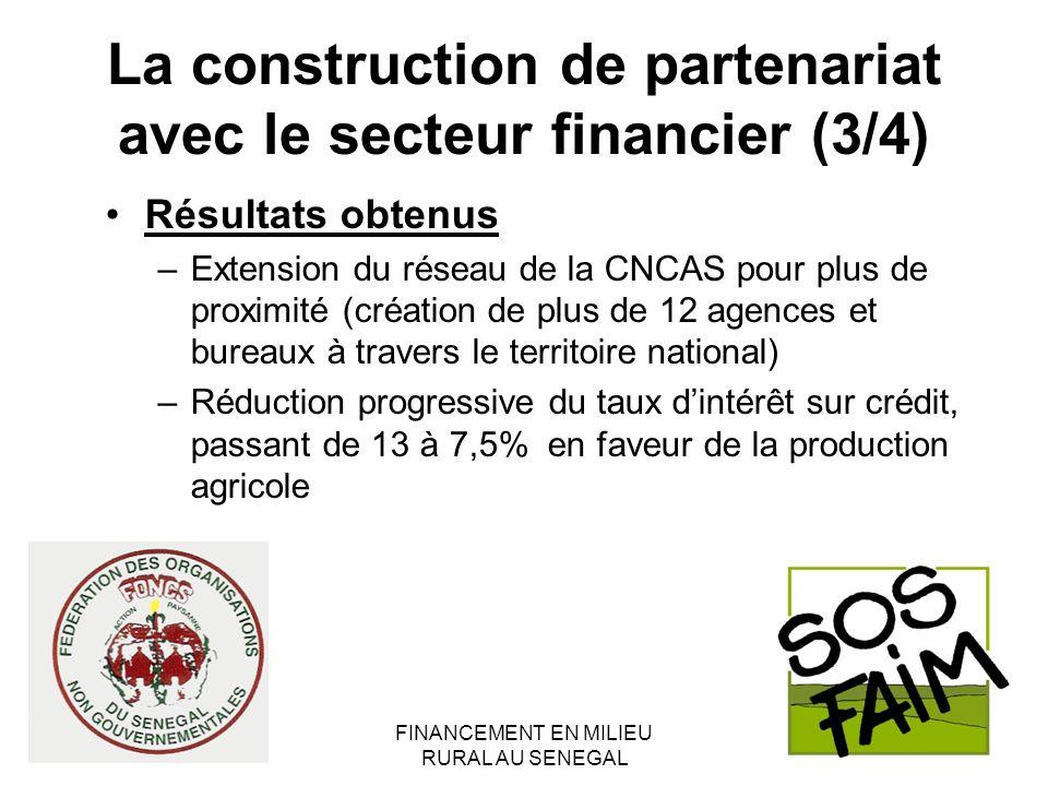 FINANCEMENT EN MILIEU RURAL AU SENEGAL La construction de partenariat avec le secteur financier (3/4) Résultats obtenus –Extension du réseau de la CNC