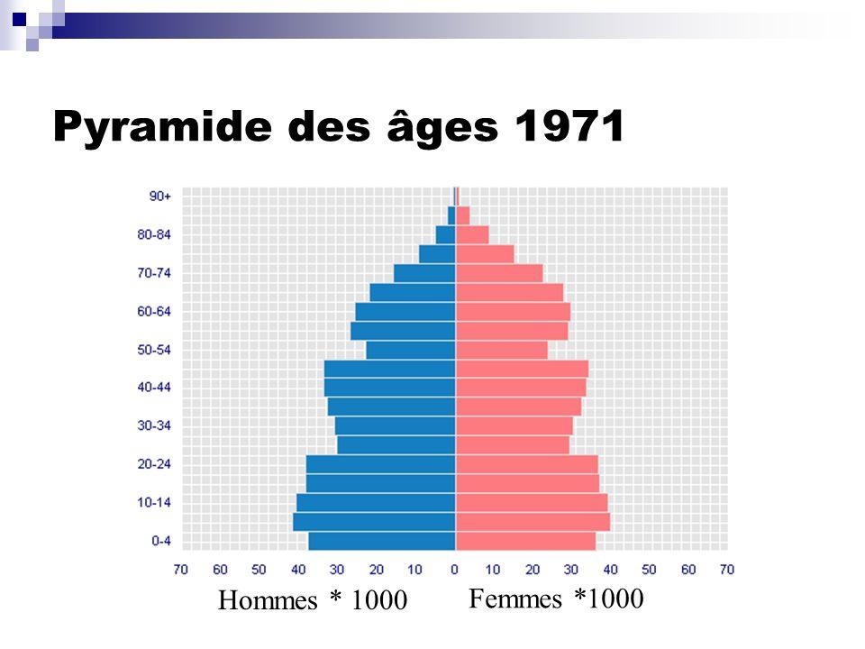 Pyramide des âges 1971 Hommes * 1000 Femmes *1000