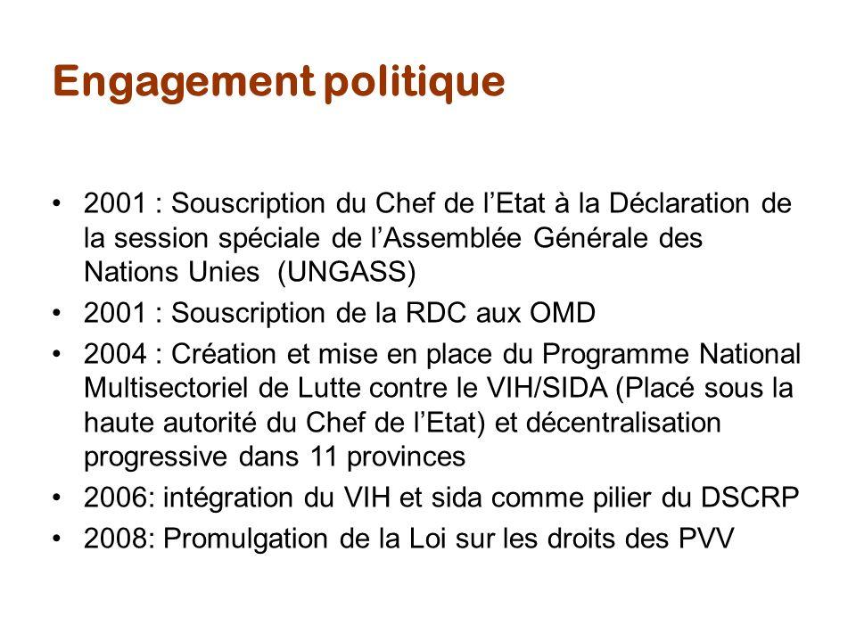Organisation de la lutte La RDC a mit en place une autorité de coordination de la lutte contre le sida conformément aux « 3 Principes » et aux recommandations du GTT.