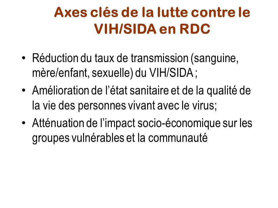 Axes clés de la lutte contre le VIH/SIDA en RDC Réduction du taux de transmission (sanguine, mère/enfant, sexuelle) du VIH/SIDA ; Amélioration de léta