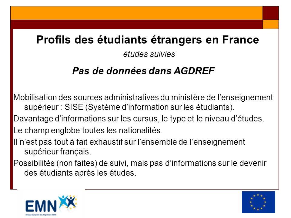 Profils des étudiants étrangers en France études suivies Pas de données dans AGDREF Mobilisation des sources administratives du ministère de lenseigne