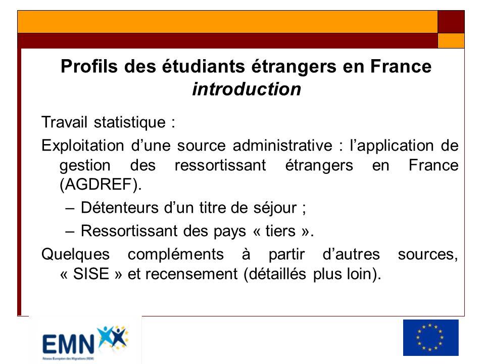 Profils des étudiants étrangers en France introduction Travail statistique : Exploitation dune source administrative : lapplication de gestion des res