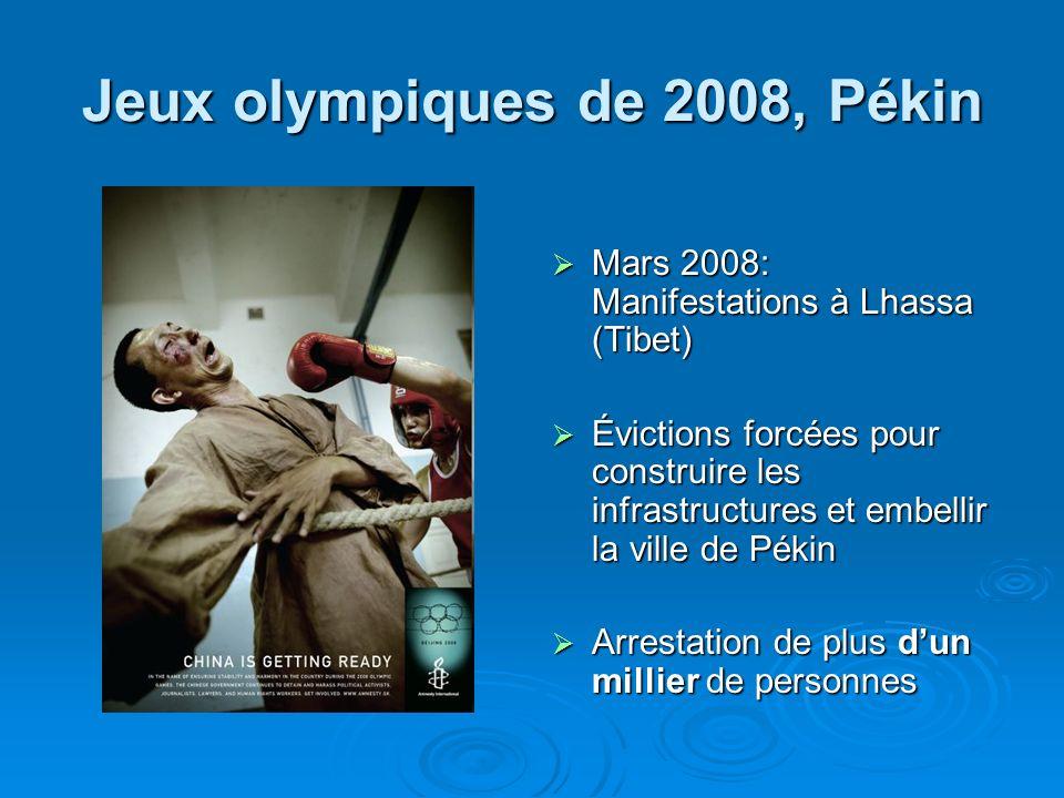 Jeux olympiques de 2008, Pékin Mars 2008: Manifestations à Lhassa (Tibet) Mars 2008: Manifestations à Lhassa (Tibet) Évictions forcées pour construire