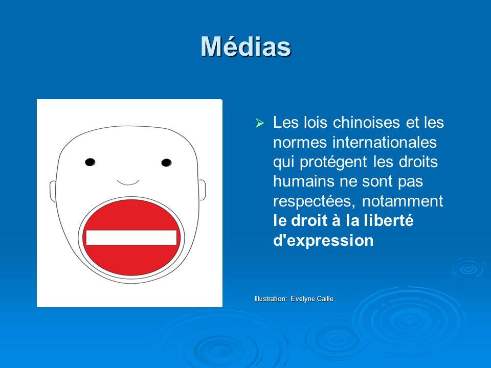 Médias Les lois chinoises et les normes internationales qui protégent les droits humains ne sont pas respectées, notamment le droit à la liberté d expression Illustration: Evelyne Caille