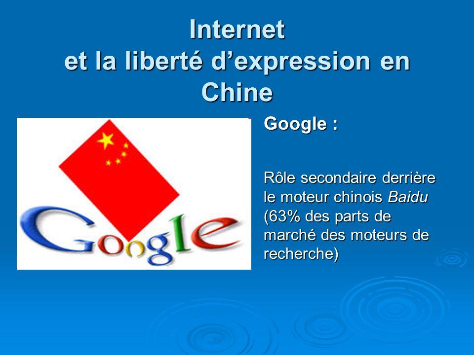 Internet et la liberté dexpression en Chine Google : Rôle secondaire derrière le moteur chinois Baidu (63% des parts de marché des moteurs de recherche)