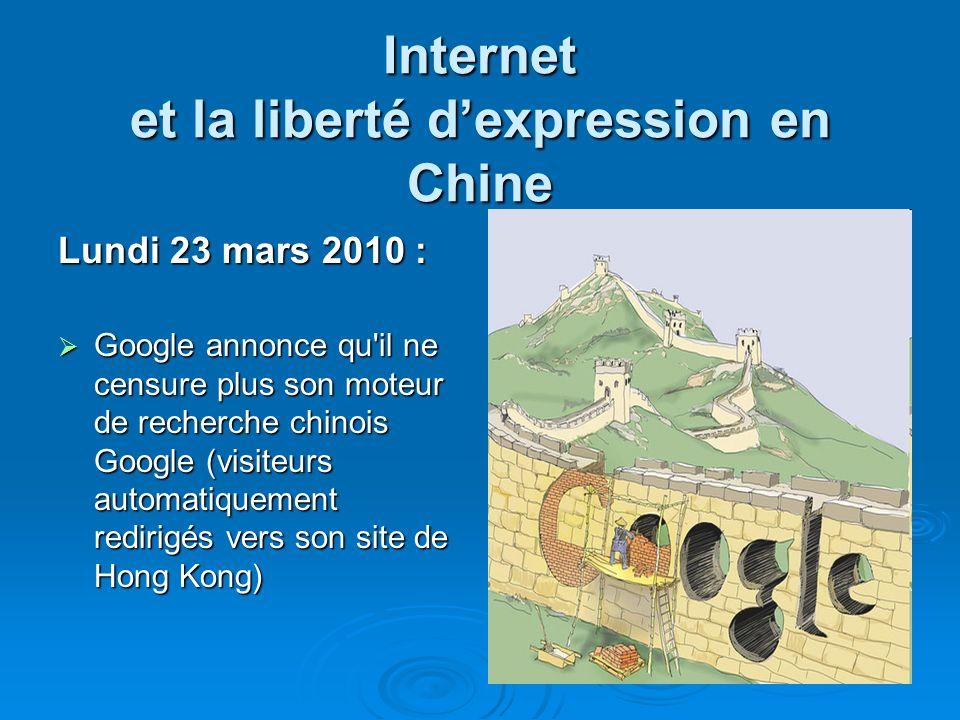 Internet et la liberté dexpression en Chine Lundi 23 mars 2010 : Google annonce qu'il ne censure plus son moteur de recherche chinois Google (visiteur