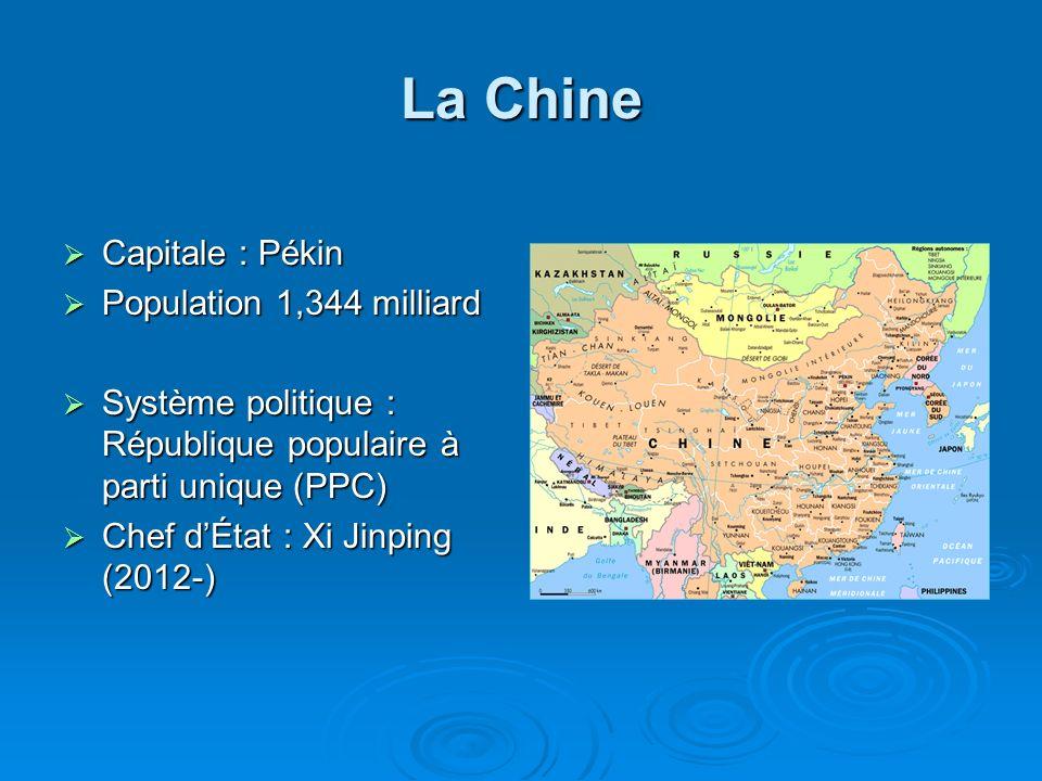 La Chine Capitale : Pékin Capitale : Pékin Population 1,344 milliard Population 1,344 milliard Système politique : République populaire à parti unique (PPC) Système politique : République populaire à parti unique (PPC) Chef dÉtat : Xi Jinping (2012-) Chef dÉtat : Xi Jinping (2012-)