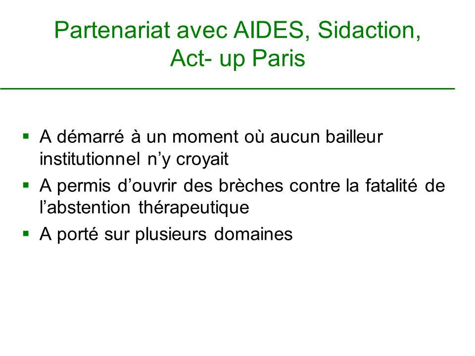 Partenariat avec AIDES, Sidaction, Act- up Paris A démarré à un moment où aucun bailleur institutionnel ny croyait A permis douvrir des brèches contre la fatalité de labstention thérapeutique A porté sur plusieurs domaines