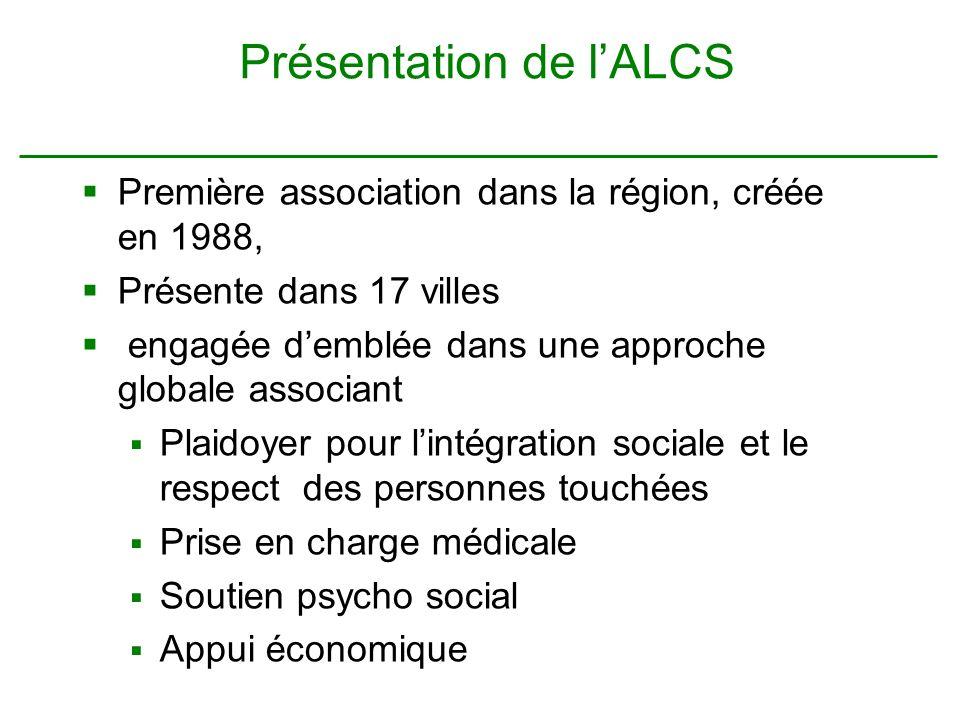 Présentation de lALCS Première association dans la région, créée en 1988, Présente dans 17 villes engagée demblée dans une approche globale associant Plaidoyer pour lintégration sociale et le respect des personnes touchées Prise en charge médicale Soutien psycho social Appui économique