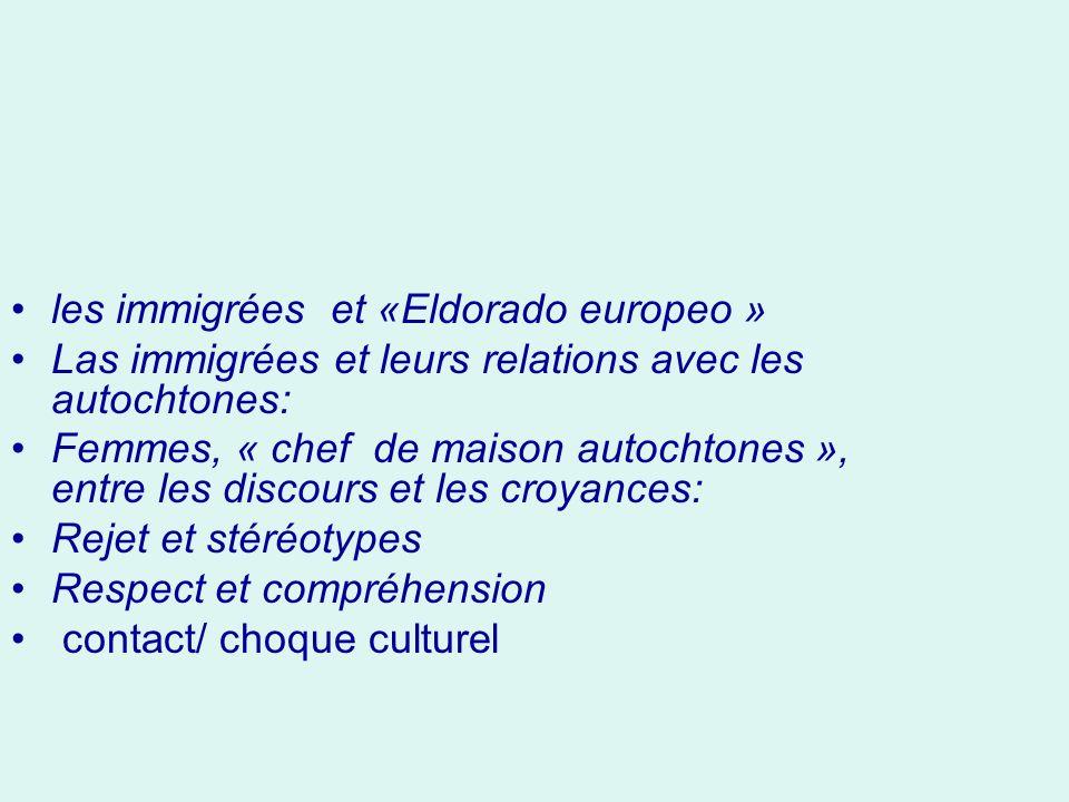 les immigrées et «Eldorado europeo » Las immigrées et leurs relations avec les autochtones: Femmes, « chef de maison autochtones », entre les discours et les croyances: Rejet et stéréotypes Respect et compréhension contact/ choque culturel