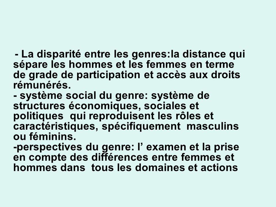 - La disparité entre les genres:la distance qui sépare les hommes et les femmes en terme de grade de participation et accès aux droits rémunérés.