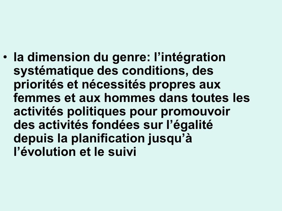 la dimension du genre: lintégration systématique des conditions, des priorités et nécessités propres aux femmes et aux hommes dans toutes les activités politiques pour promouvoir des activités fondées sur légalité depuis la planification jusquà lévolution et le suivi