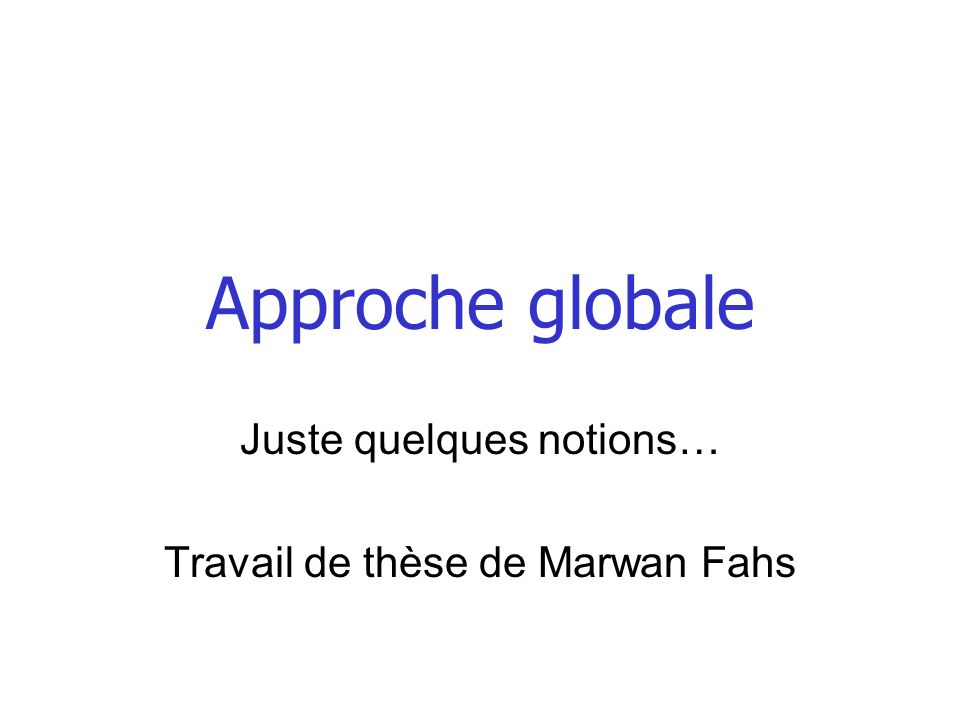 Approche globale Juste quelques notions… Travail de thèse de Marwan Fahs