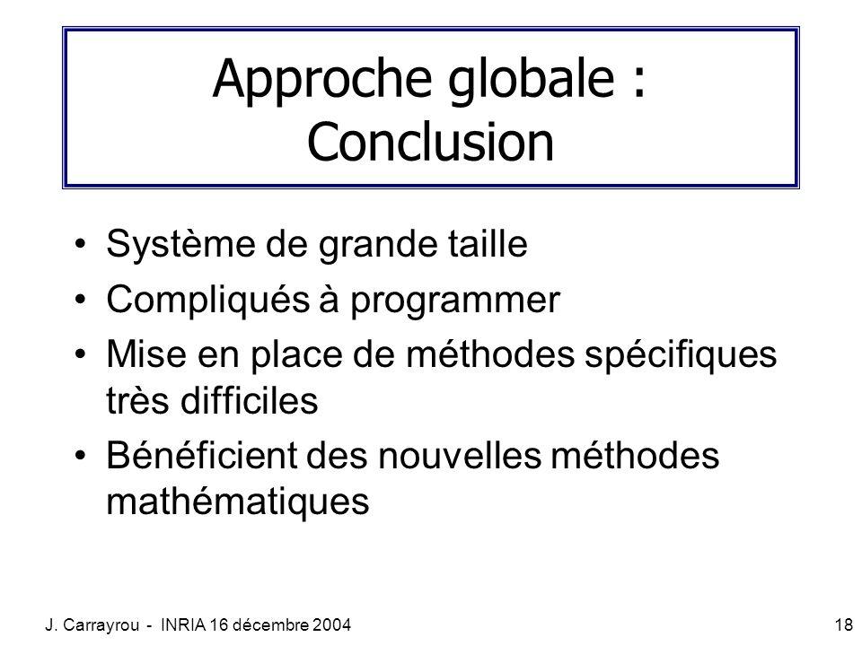 J. Carrayrou - INRIA 16 décembre 200418 Approche globale : Conclusion Système de grande taille Compliqués à programmer Mise en place de méthodes spéci