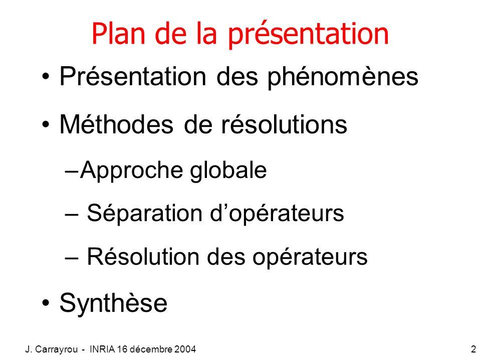 J. Carrayrou - INRIA 16 décembre 20042 Plan de la présentation Présentation des phénomènes Méthodes de résolutions –Approche globale – Séparation dopé