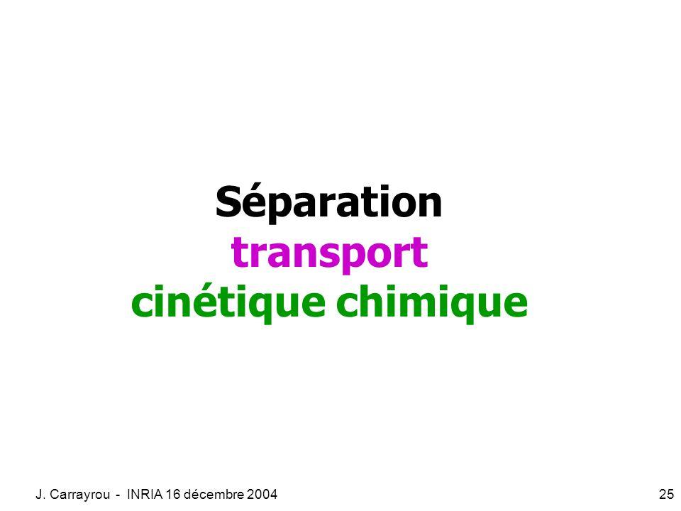 J. Carrayrou - INRIA 16 décembre 200425 Séparation transport cinétique chimique