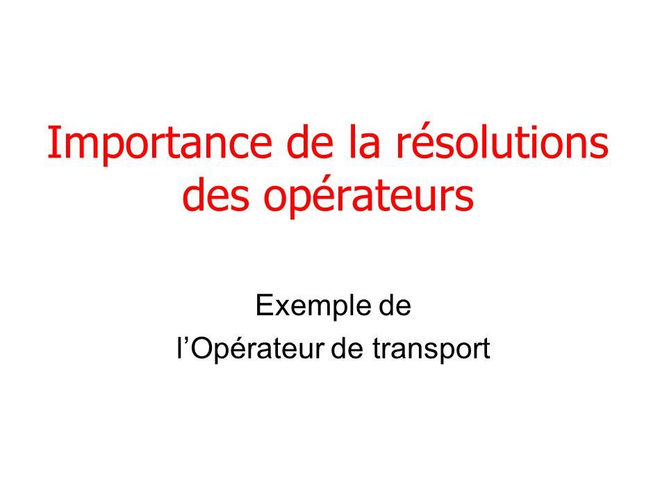 Importance de la résolutions des opérateurs Exemple de lOpérateur de transport