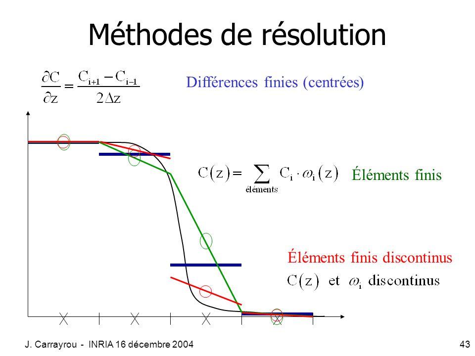 J. Carrayrou - INRIA 16 décembre 200443 Méthodes de résolution Différences finies (centrées) Éléments finis Éléments finis discontinus