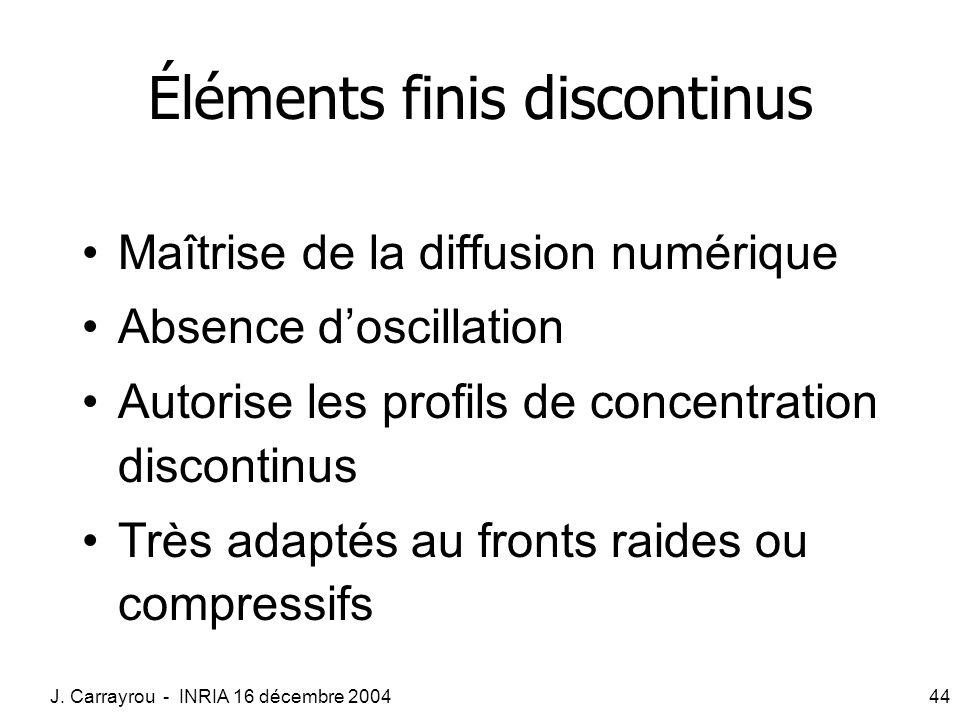 J. Carrayrou - INRIA 16 décembre 200444 Éléments finis discontinus Maîtrise de la diffusion numérique Absence doscillation Autorise les profils de con