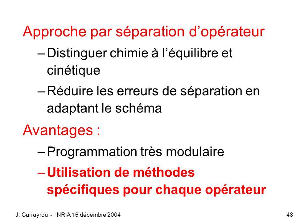 J. Carrayrou - INRIA 16 décembre 200448 Approche par séparation dopérateur –Distinguer chimie à léquilibre et cinétique –Réduire les erreurs de sépara