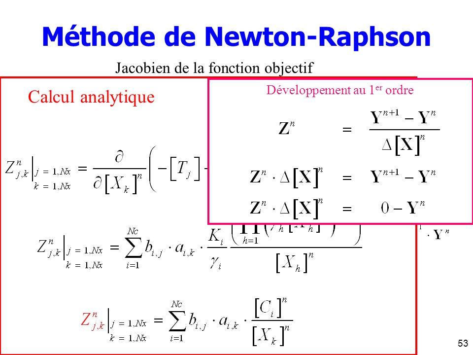 J. Carrayrou - INRIA 16 décembre 200453 Calcul analytique Méthode de Newton-Raphson Jacobien de la fonction objectif Développement au 1 er ordre Pas d
