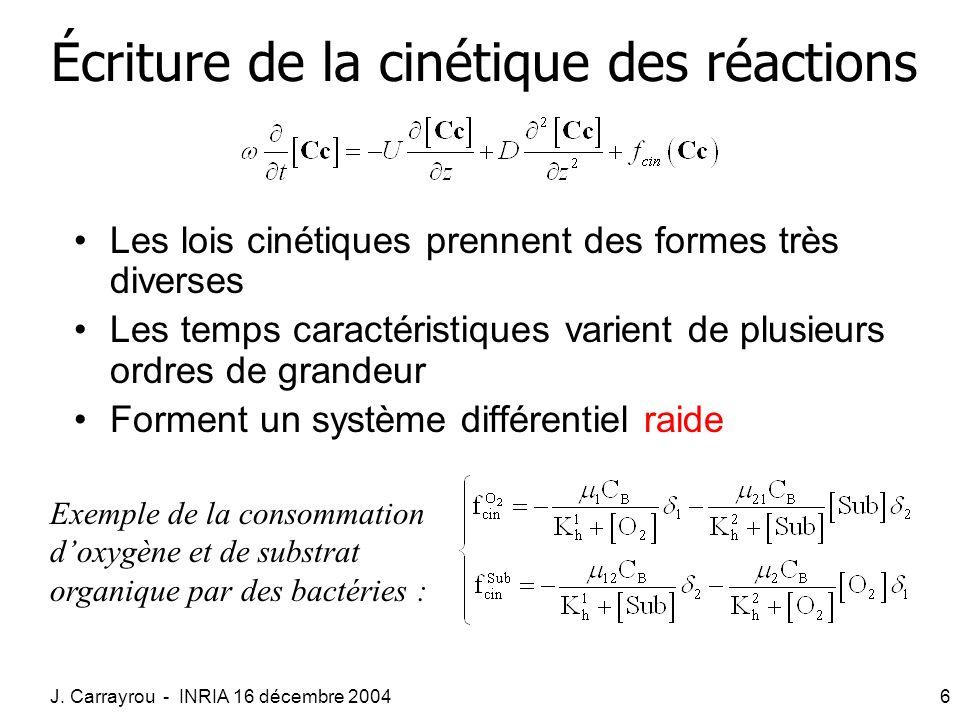 J. Carrayrou - INRIA 16 décembre 20046 Écriture de la cinétique des réactions Les lois cinétiques prennent des formes très diverses Les temps caractér