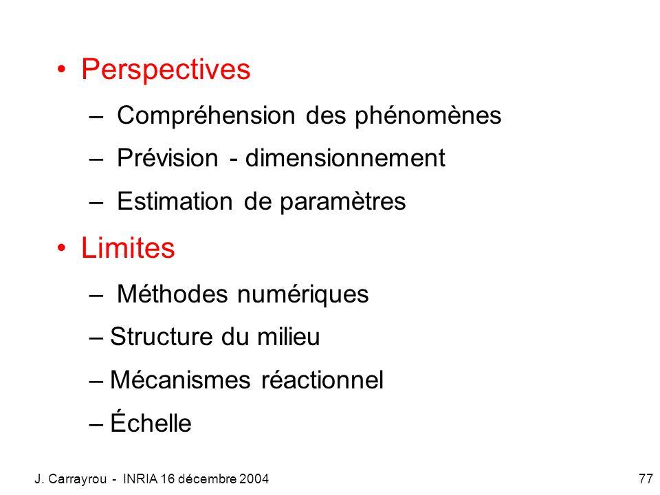 J. Carrayrou - INRIA 16 décembre 200477 Perspectives – Compréhension des phénomènes – Prévision - dimensionnement – Estimation de paramètres Limites –