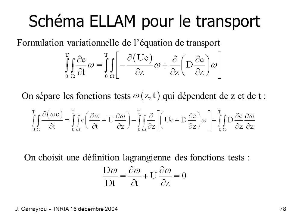 J. Carrayrou - INRIA 16 décembre 200478 Schéma ELLAM pour le transport Formulation variationnelle de léquation de transport On sépare les fonctions te