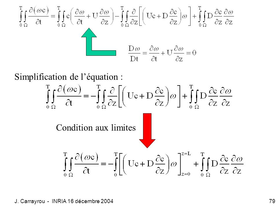 J. Carrayrou - INRIA 16 décembre 200479 Simplification de léquation : Condition aux limites