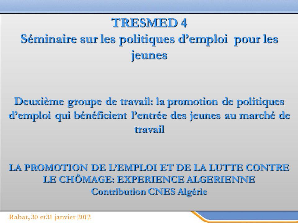 Page 1 Rabat, 30 et31 janvier 2012 TRESMED 4 Séminaire sur les politiques demploi pour les jeunes Deuxième groupe de travail: la promotion de politiqu
