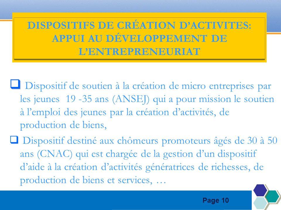 Page 10 DISPOSITIFS DE CRÉATION DACTIVITES: APPUI AU DÉVELOPPEMENT DE LENTREPRENEURIAT Dispositif de soutien à la création de micro entreprises par le
