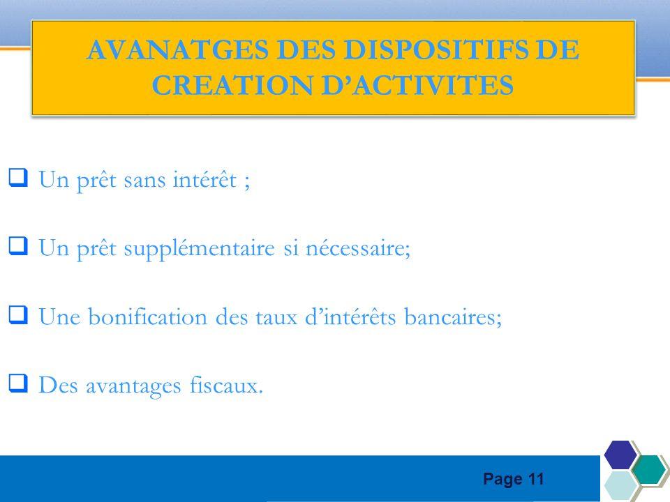 Page 11 AVANATGES DES DISPOSITIFS DE CREATION DACTIVITES Un prêt sans intérêt ; Un prêt supplémentaire si nécessaire; Une bonification des taux dintérêts bancaires; Des avantages fiscaux.