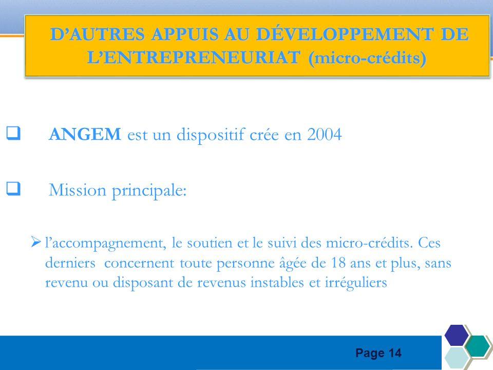 Page 14 ANGEM est un dispositif crée en 2004 Mission principale: laccompagnement, le soutien et le suivi des micro-crédits. Ces derniers concernent to