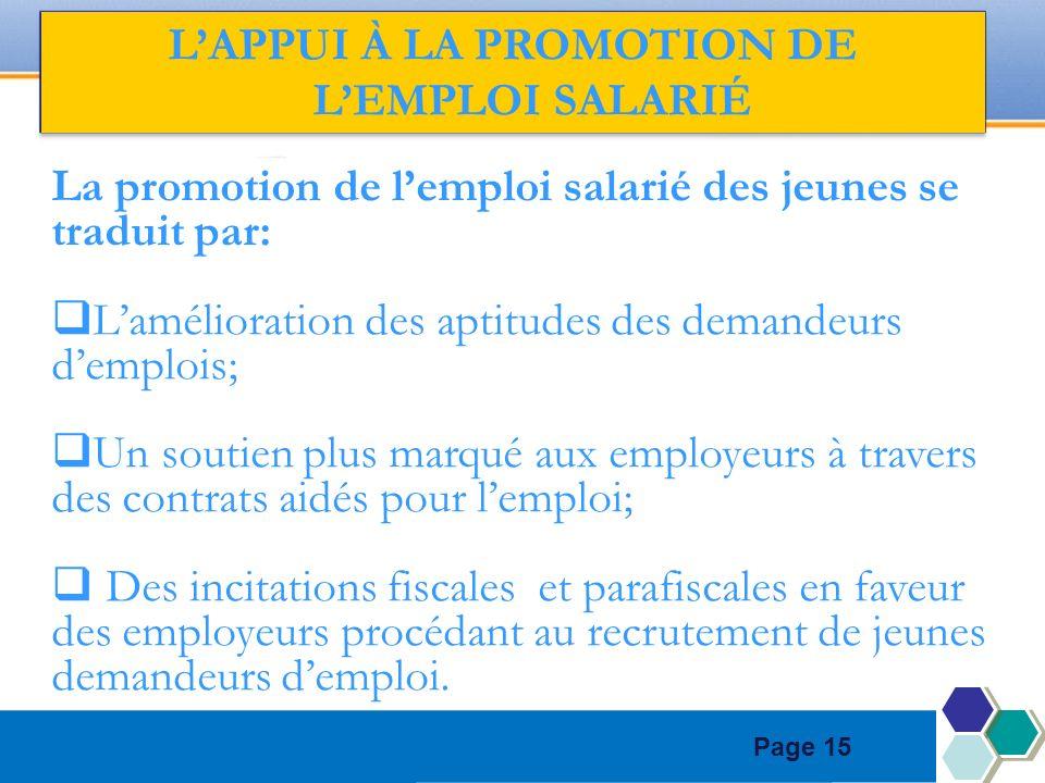 Page 15 LAPPUI À LA PROMOTION DE LEMPLOI SALARIÉ La promotion de lemploi salarié des jeunes se traduit par: Lamélioration des aptitudes des demandeurs