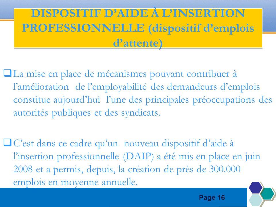 Page 16 DISPOSITIF DAIDE À LINSERTION PROFESSIONNELLE (dispositif demplois dattente) La mise en place de mécanismes pouvant contribuer à lamélioration