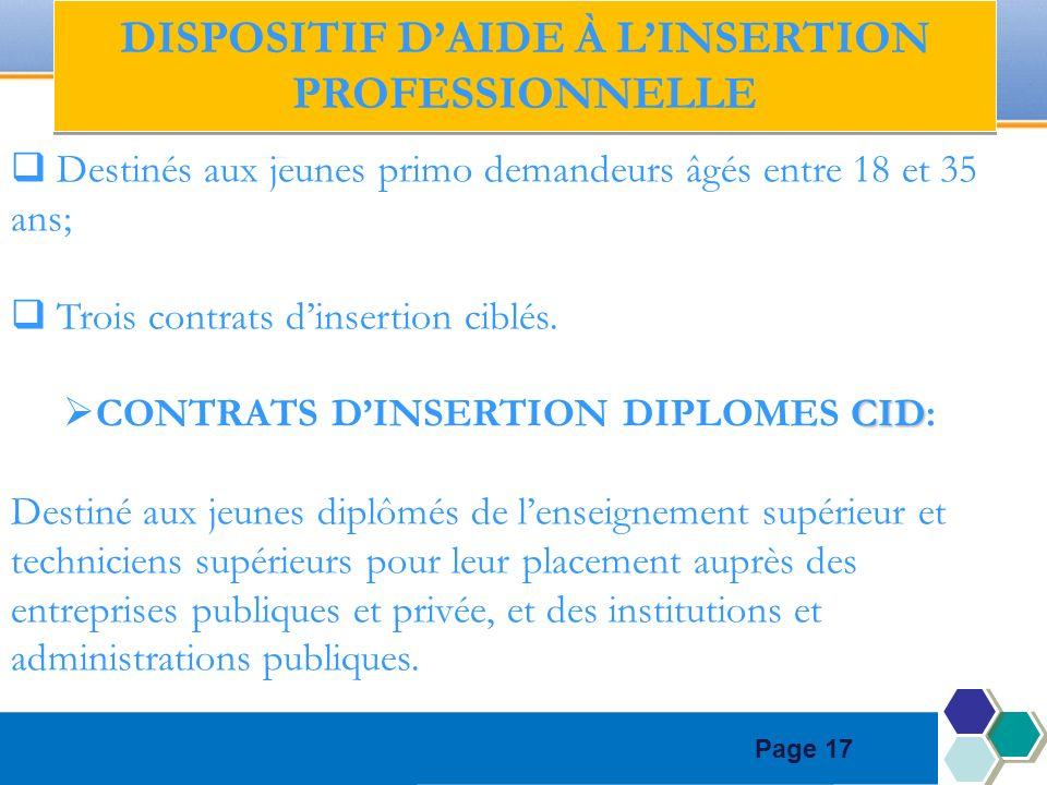 Page 17 Destinés aux jeunes primo demandeurs âgés entre 18 et 35 ans; Trois contrats dinsertion ciblés. CID CONTRATS DINSERTION DIPLOMES CID: Destiné