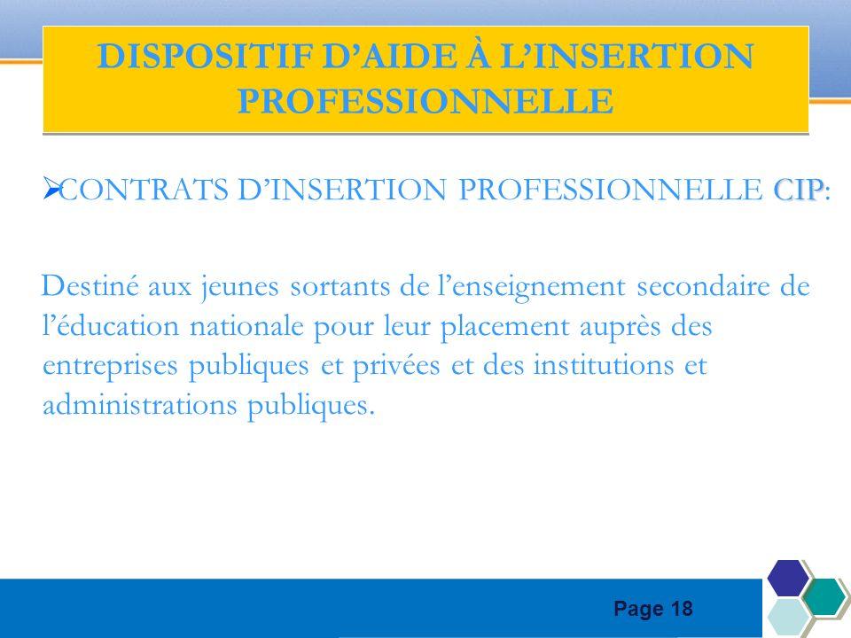Page 18 CIP CONTRATS DINSERTION PROFESSIONNELLE CIP: Destiné aux jeunes sortants de lenseignement secondaire de léducation nationale pour leur placeme