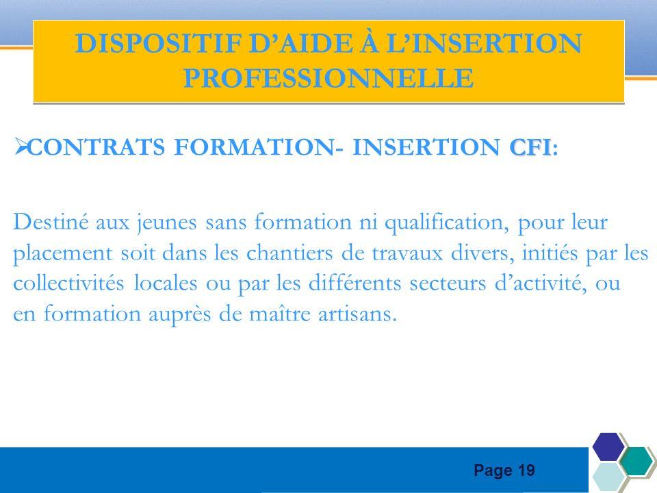 Page 19 CFI CONTRATS FORMATION- INSERTION CFI: Destiné aux jeunes sans formation ni qualification, pour leur placement soit dans les chantiers de trav