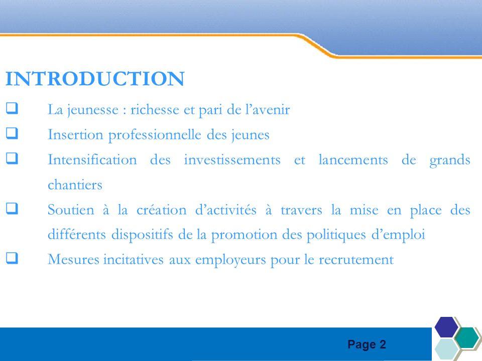 Page 2 INTRODUCTION La jeunesse : richesse et pari de lavenir Insertion professionnelle des jeunes Intensification des investissements et lancements d