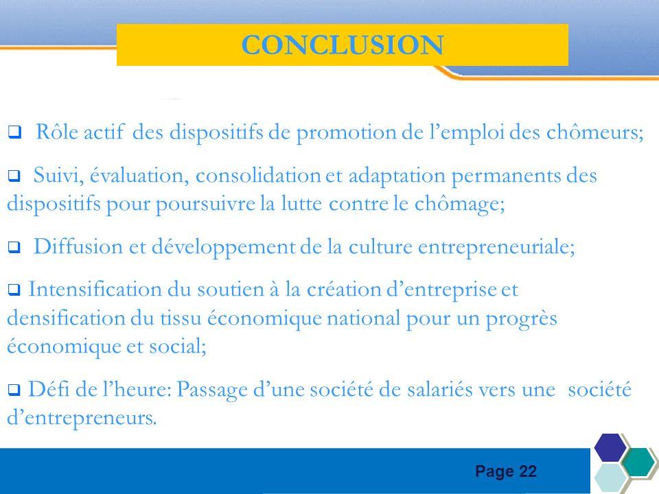 Page 22 Rôle actif des dispositifs de promotion de lemploi des chômeurs; Suivi, évaluation, consolidation et adaptation permanents des dispositifs pou