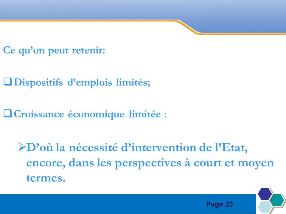 Page 23 Ce quon peut retenir: Dispositifs demplois limités; Croissance économique limitée : Doù la nécessité dintervention de lEtat, encore, dans les perspectives à court et moyen termes.