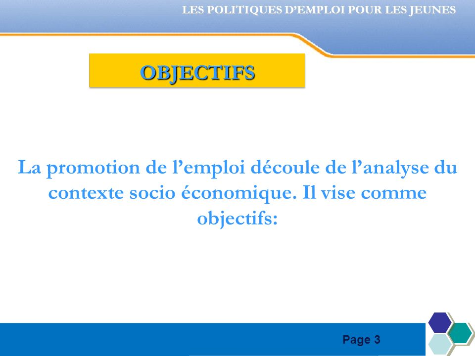 Page 3 La promotion de lemploi découle de lanalyse du contexte socio économique. Il vise comme objectifs: LES POLITIQUES DEMPLOI POUR LES JEUNES OBJEC